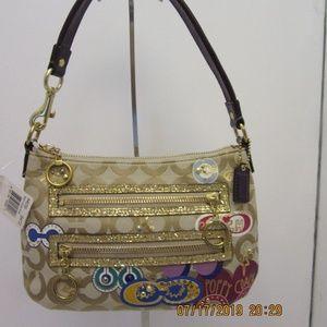 Coach poppy applique pouch handbag